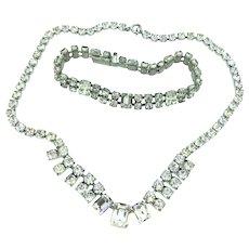 Vintage Retro Demi Parure Necklace Bracelet Costume Back Foiled Glass