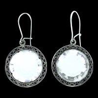 Rock Crystal Silver Filigree Earrings Pierced Faceted Drops