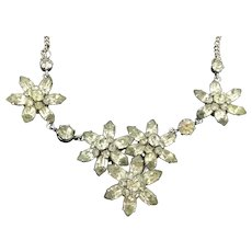Resplendent Flower Necklace Back Foiled Glass Stones 18 Inches