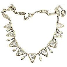 Vintage Festoon Gilt Necklace imitation Pearls c.1960s