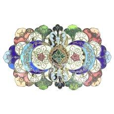 Art Nouveau Estate Enamelled Large Belt Buckle Gilt Large Astonishing