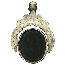 Early Edwardian Fob Pendant Swivel 925 Embossed Bloodstone Agate Seal