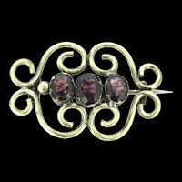 Edwardian Garnet Trilogy Gold Filled Brooch