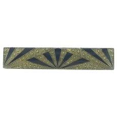 Art Deco Style Enamelled Brooch Pin Costume Geometrical Design