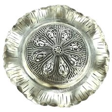 Unusual Filigree Old Statement Large Brooch White Metal