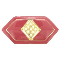 Red Enamelled Imitation Pearls 1980s Brooch Pin