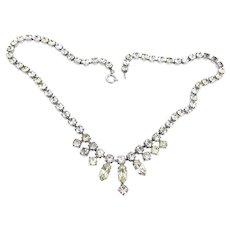 Vintage 1950s Necklace Costume Back Foiled Glass Stones