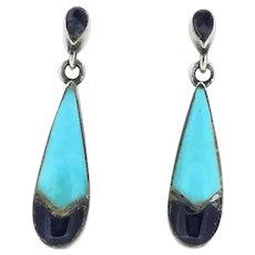 Silver Sterling Drop Pierced Earrings Lapis Lazuli Turquoise Dainty Beauty