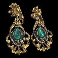 Vintage Costume Drop Earrings Clip On Green Cabochons Two Tones Signed