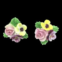 Vintage Porcelain Flower Clip On Earrings Denton England