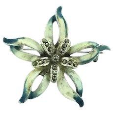 Vintage Enamelled Marcasite Brooch Pin Flower Costume
