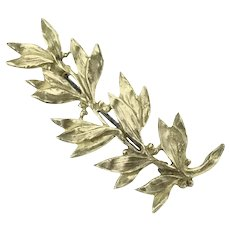Art Nouveau French Gilt Leaves Brooch Pin Costume