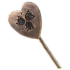 Edwardian Stick Pin Lapel Tie Etched Heart Paste Stones Rose Rolled Gold