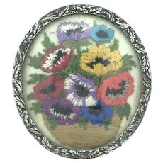Embroidery Flowers Glassed White Metal Brooch Pin Moseley England