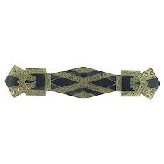 Art Deco Style Geometrical Enamelled Brooch Pin