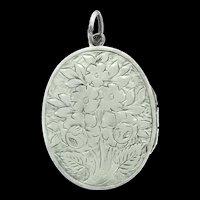 Victorian Locket Pendant Flowers Embossed Silver Tested