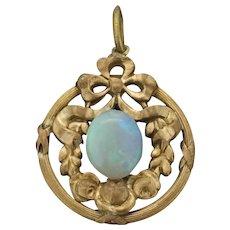 French Art Nouveau Opal Pendant Gilt Metal c.1895