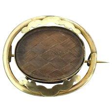 Edwardian Glassed Locket Brooch Pin Gold Filled C.1910