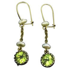 Edwardian 9CT Peridot Pearls Earrings