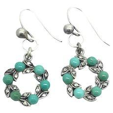 Edwardian Silver Turquoise Marcasite Earrings
