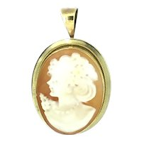 Impeccable Cameo Pendant Brooch Pin Gold 9CT Hallmarked