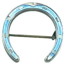 Marius Hammer Guilloche Silver 930 Hallmarked Brooch Pin Lucky Horseshoe