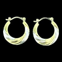 Vintage Gold 9CT 375 Hoop Earrings Elegant Beauty Twisted Silver Accents