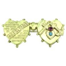 Romantic Mizpah Twin Hearts Gems Hope Faith Charity Symbols C.1900