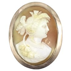 Old Cameo Rose Gold 9CT Hallmarked Pendant Brooch Pin c.1890