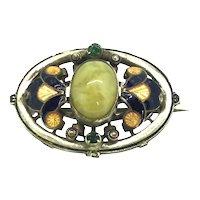 Art Nouveau Enamel Stone Brooch Pin Costume C.1897