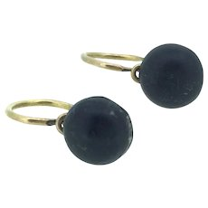 Rose Gold 14CT Dormeuse Whitby Jet Earrings Small Perfection C.1900