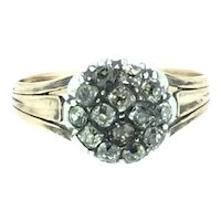 Old Rose Cut Mined Diamond Cluster 9CT Rose Gold Ring C.1860