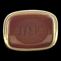 Edwardian Gold Cased Seal Fob Carved Monogram Carnelian Agate
