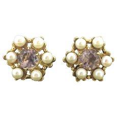 Vintage Amethyst Gold 9CT Cultured Pearls Elegant Stud Earrings