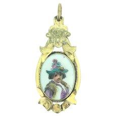 Georgian Pinchbeck Miniature Portrait Pendant Oil Painted C.1830