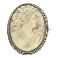 Carved Cameo Shell Brooch Beautiful Frame c.1900