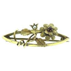 Gold 15CT 625 English Brooch Pin Flowers Foliage Garnet Hallmarked Signed