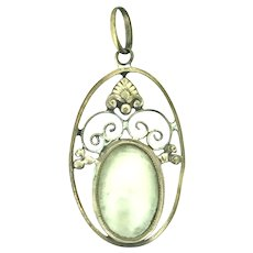 Art Nouveau French Blister Mother of Pearl Little RG Pendant c.1895