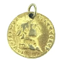 Very Old Gilt Medal Pendant Caesar Dominitian vI
