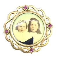 Rose Rolled Gold Ruby Paste Stones French Brooch Pin Signed