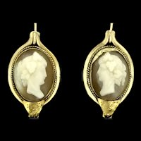 Antique Cameo Gold 9CT Earrings Beautifully Carved C.1890