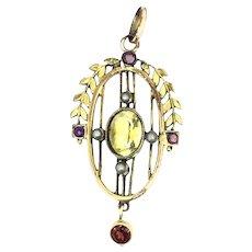 German Jugendstil Pendant Citrine Rubies Garnet Gold Filled C.1895