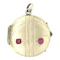 German Patterned Locket Pendant Paste Stones Rose Rolled Gold 1910