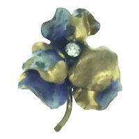 Hand Painted Pansy Brooch Pin Costume Paste Stone C.1920