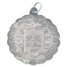 Victorian Silver First Communion Pendant Writing 21 May 1885