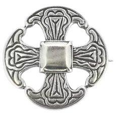 Celtic Cross Silver Hallmarked Textured Brooch Pin