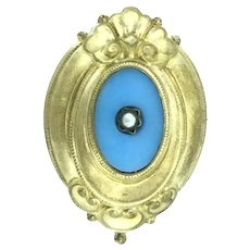 Blue Glass Pearl Gilt Victorian Style Brooch Puffy Pin Elegance C.1900