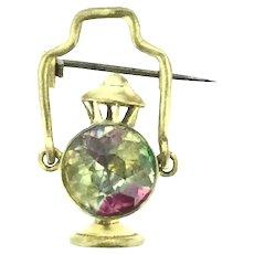 Vintage Lantern Brooch Pin Costume Glass Adorable