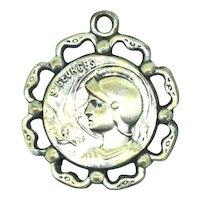 St. George's Medal Pendant Textured Costume Vintage