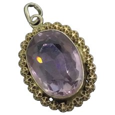 Edwardian Silver Faceted Amethyst Pendant Charm C.1901